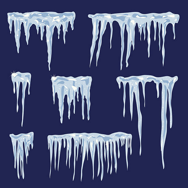 icicles, vector set illustration for your design - hibernation stock illustrations