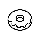icing donut icon vector. icing donut sign. isolated contour symbol illustration