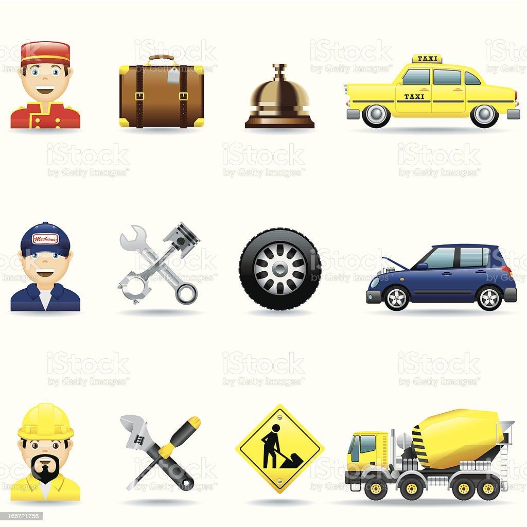 Icon 3 Set / Hotel, Mechanic and Construction vector art illustration