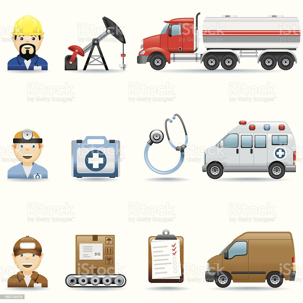 Icon 3 Set/Oil industry, Medicine and Logistic royalty-free stock vector art
