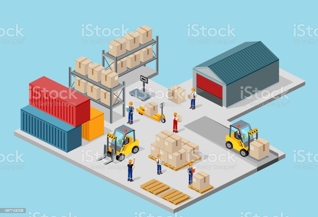 Icon 3d Isometric Process of the Warehouse vector art illustration