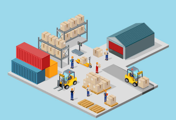 Icon 3d Isometric Process of the Warehouse Icon 3d isometric process of the warehouse. Warehouse interior, logisti and factory, warehouse building, warehouse exterior, business delivery, storage cargo illustration container stock illustrations