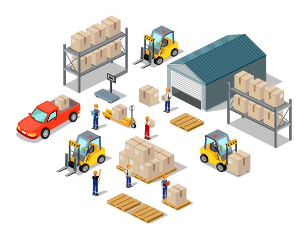 symbol - 3d isometric prozess des warehouse - frachtpaletten stock-grafiken, -clipart, -cartoons und -symbole