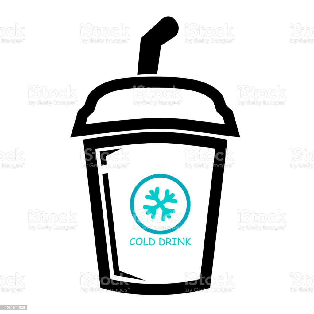 Icon, a Cold Drink with straw, isolated on white vector art illustration