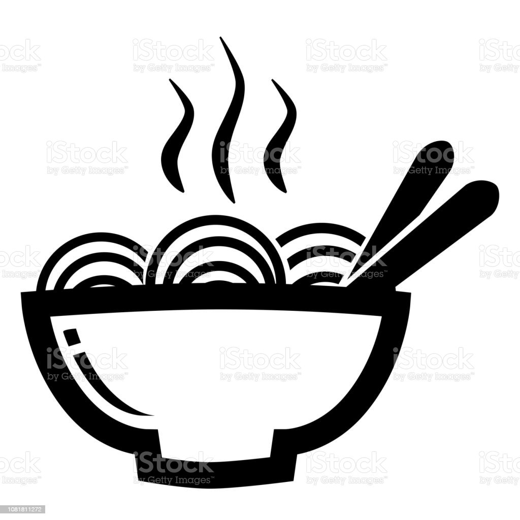 Icon, a Hot Noodle and Chopstcik at A Bowl isolated on white vector art illustration