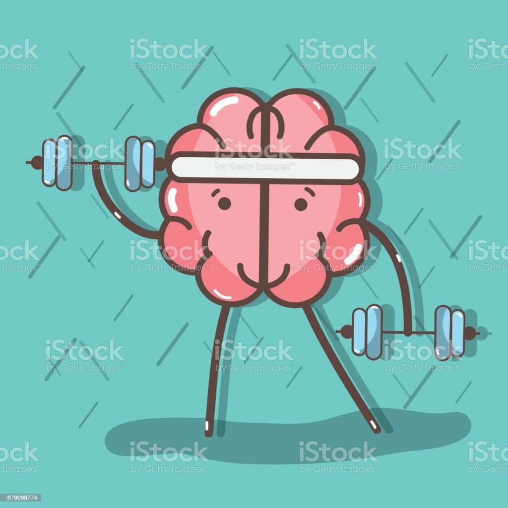 icon adorable kawaii brain doing exercise vector art illustration