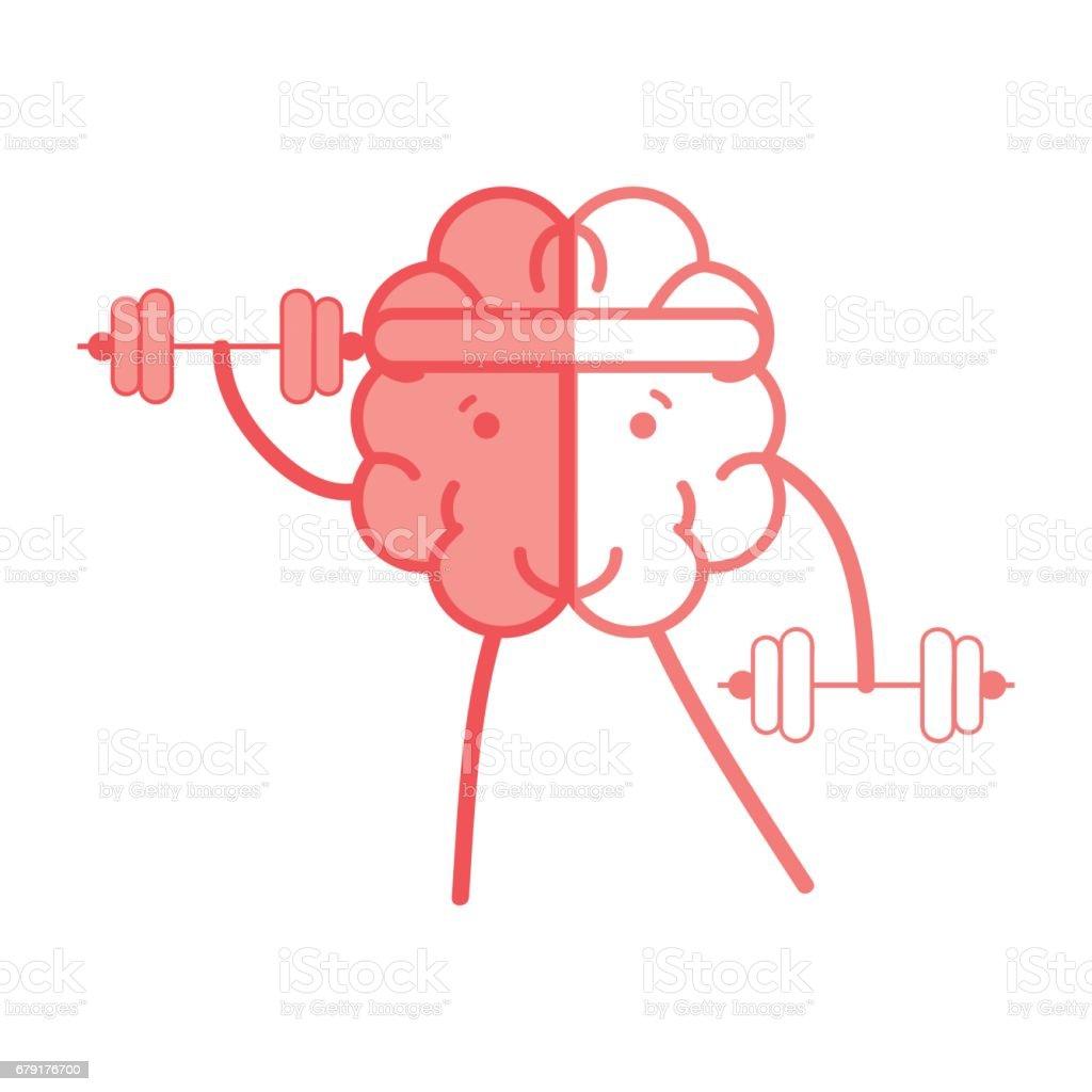 icon adorable kawaii brain doing exercise vector art illustration