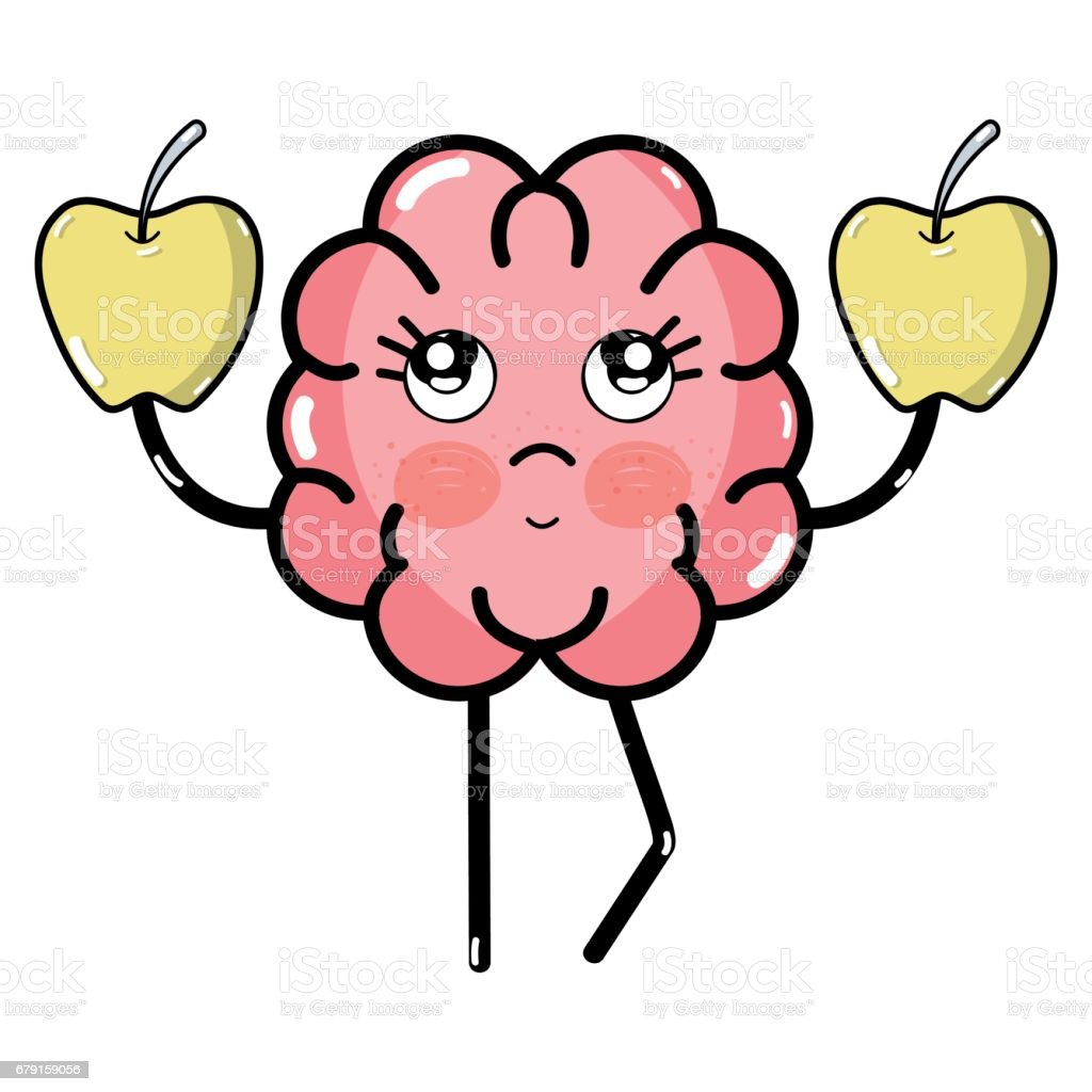 icon adorable kawaii brain eating apple vector art illustration