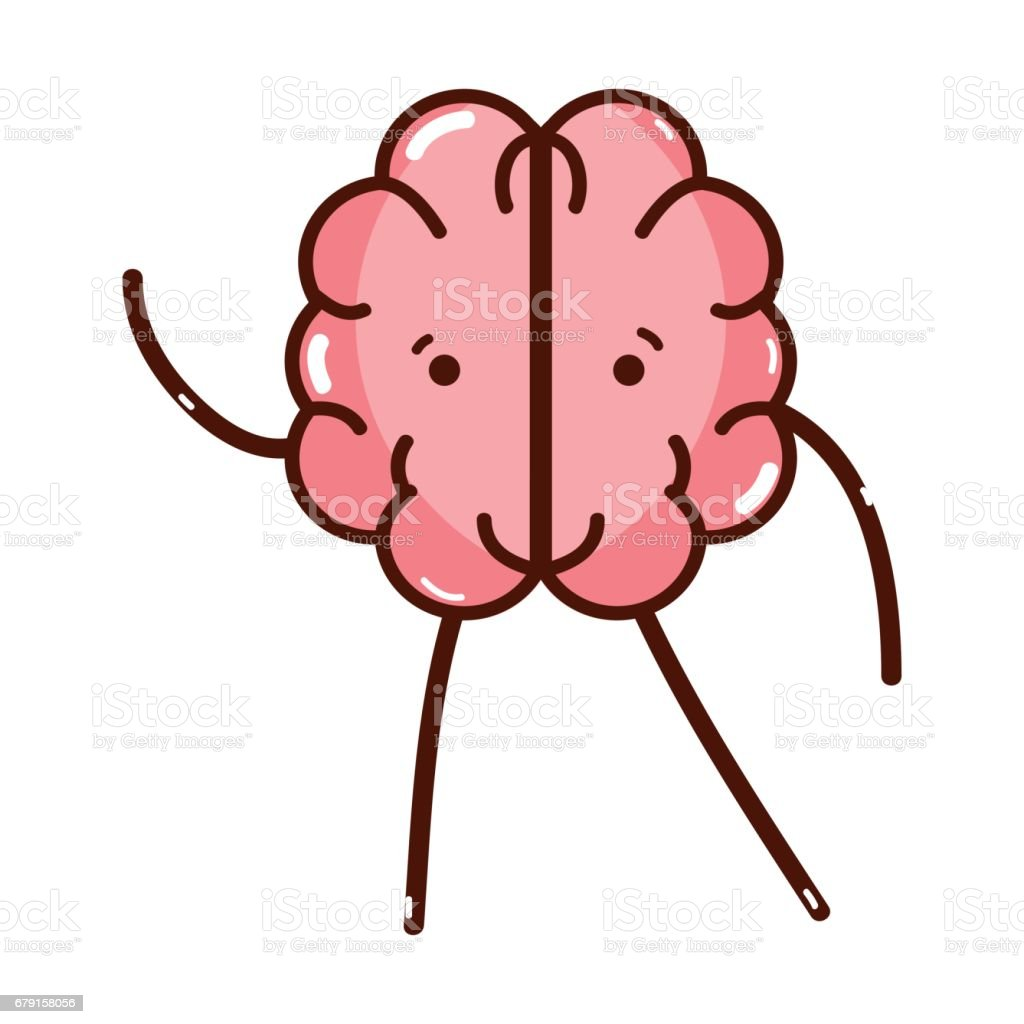 icon adorable kawaii brain expression vector art illustration