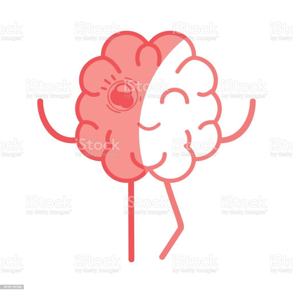 icon adorable kawaii brain expression vector art illustration