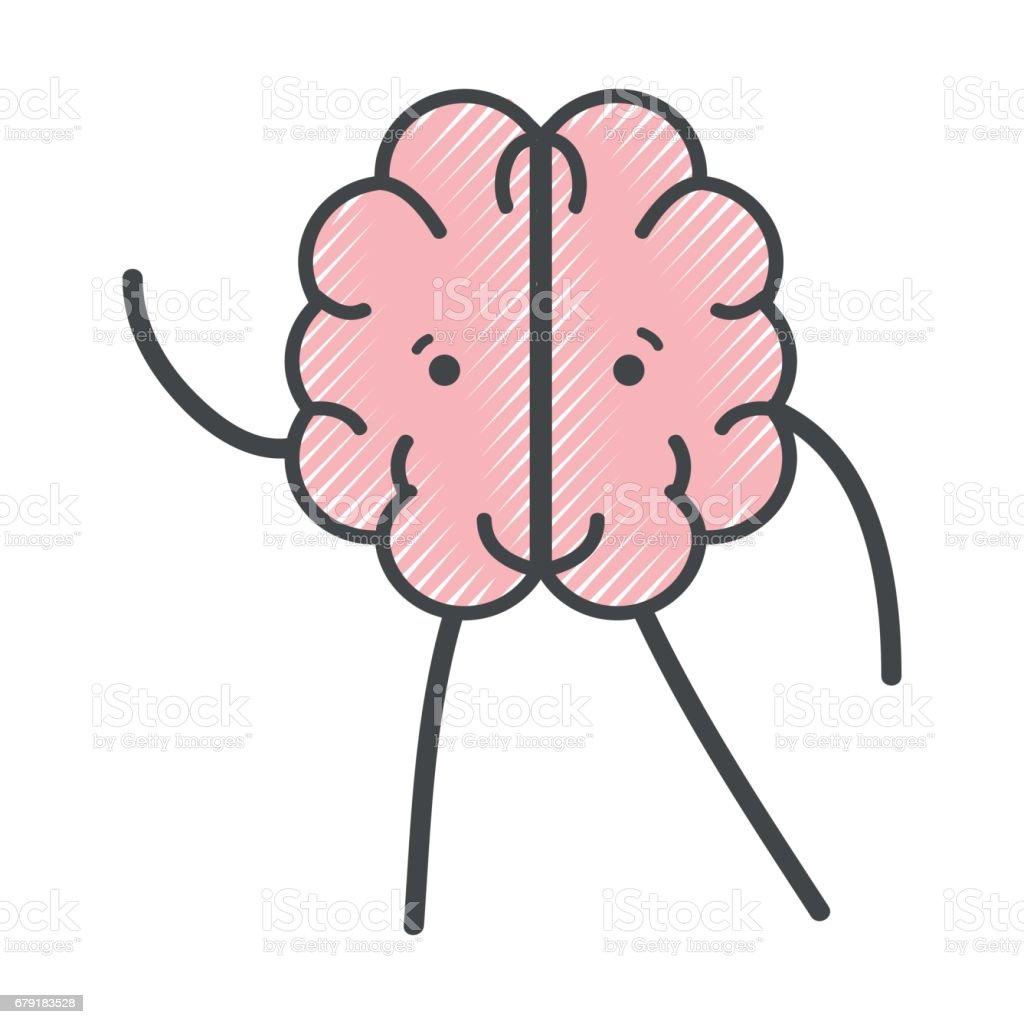 Ilustración de Expresión De Cerebro Icono Kawaii Adorable y más ...
