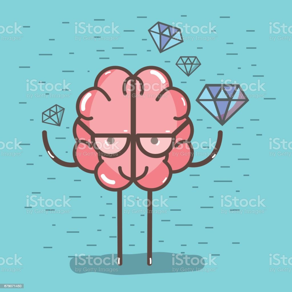 Ilustración de Cerebro De Icono Kawaii Adorable Con Un Montón De ...
