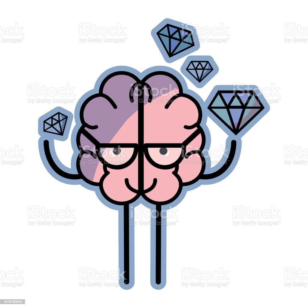 icon adorable kawaii brain with a lot of diamond vector art illustration