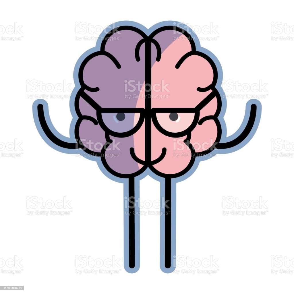 icon adorable kawaii brain with glasses vector art illustration