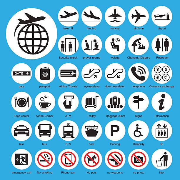 stockillustraties, clipart, cartoons en iconen met icon airport set - cell phone toilet