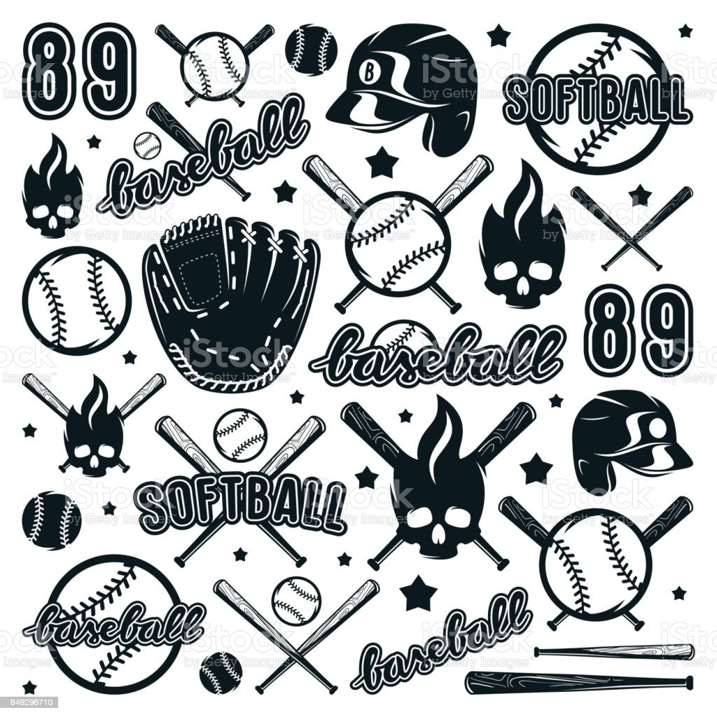 Icon and badge set of baseball and softball equipment vector art illustration