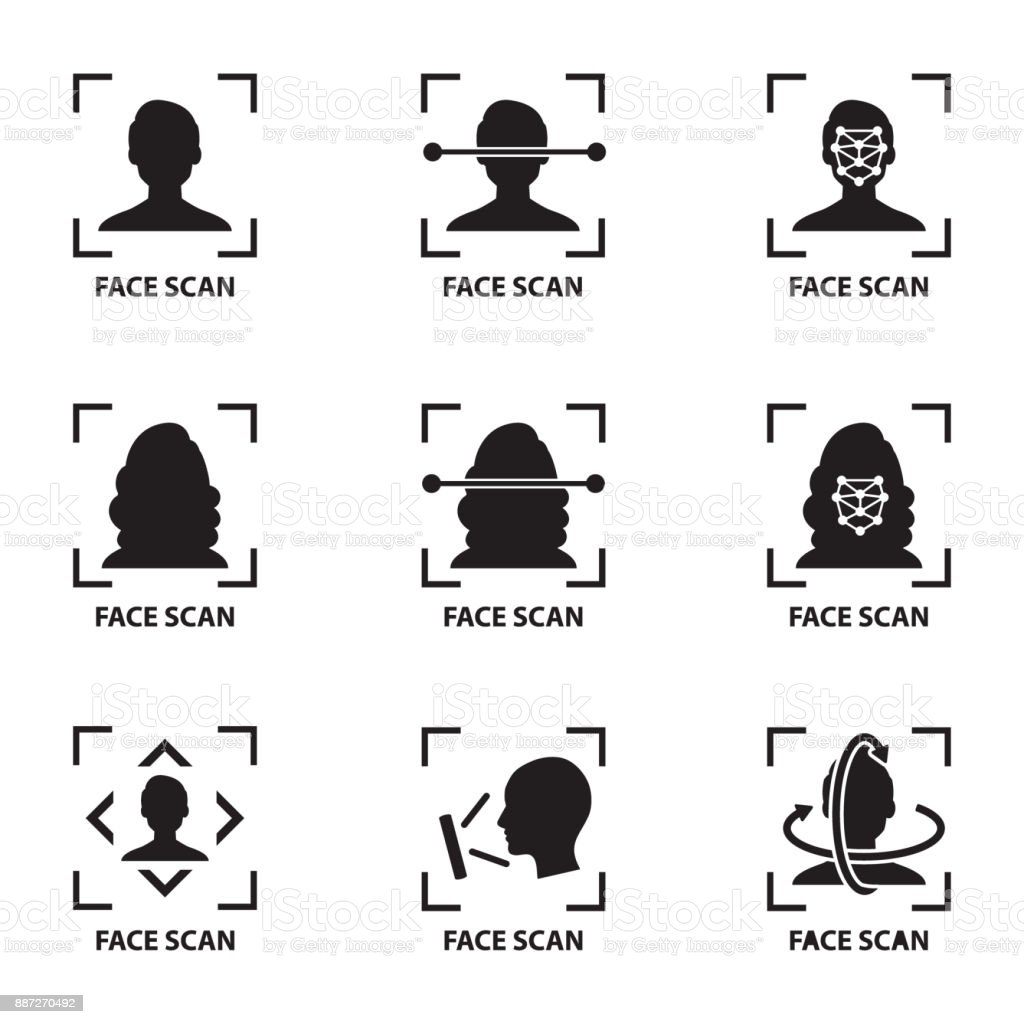 icon and symbol Smartphone and computer scans a person face. Biometric identification. Facial recognition system concept. vector art illustration