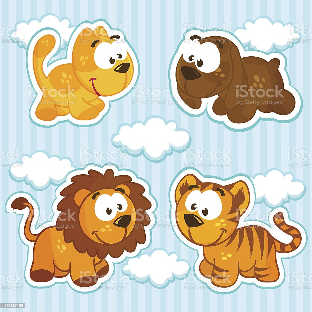 set of icons with wild and pet animals