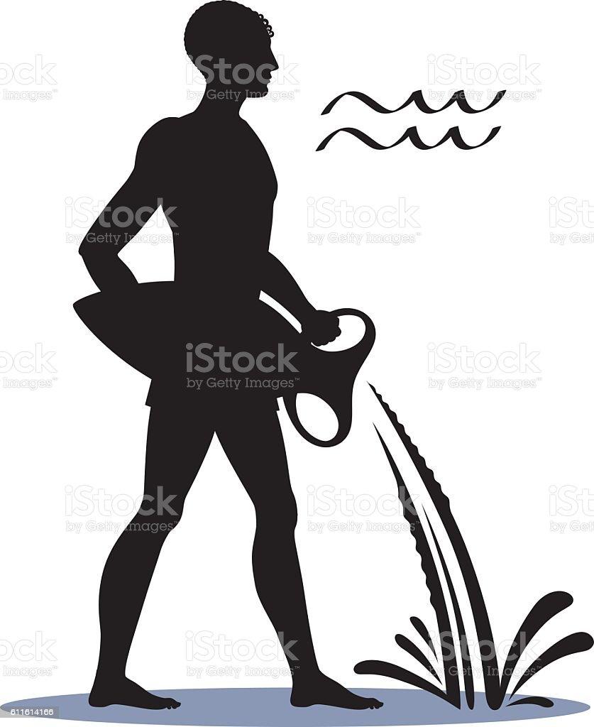 Icon Aquarius Zodiac Horoscope Silhouette man and sign Water Bearer. - ilustração de arte em vetor