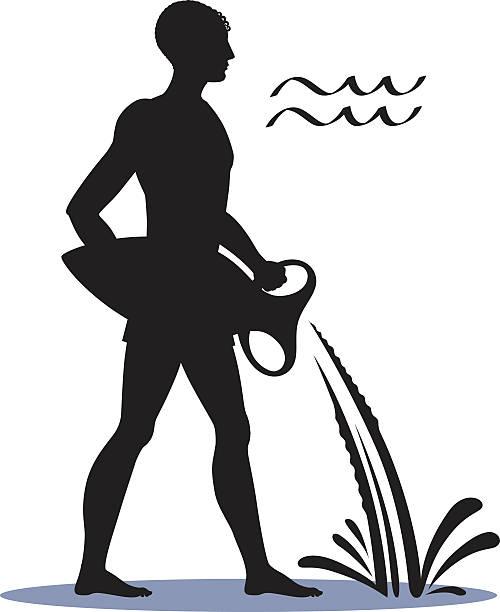 ilustrações, clipart, desenhos animados e ícones de icon aquarius zodiac horoscope silhouette man and sign water bearer. - fontes e tipografia