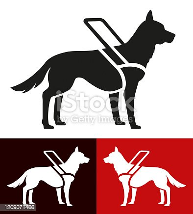 istock Icon assistance dog for blind people 1209071466