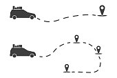 Icon auto navigator traveler. Monochrome illustration of a car moving along a certain route. Vector on white background