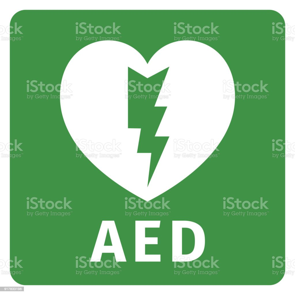 AED icon - Automated external defibrillator vector art illustration