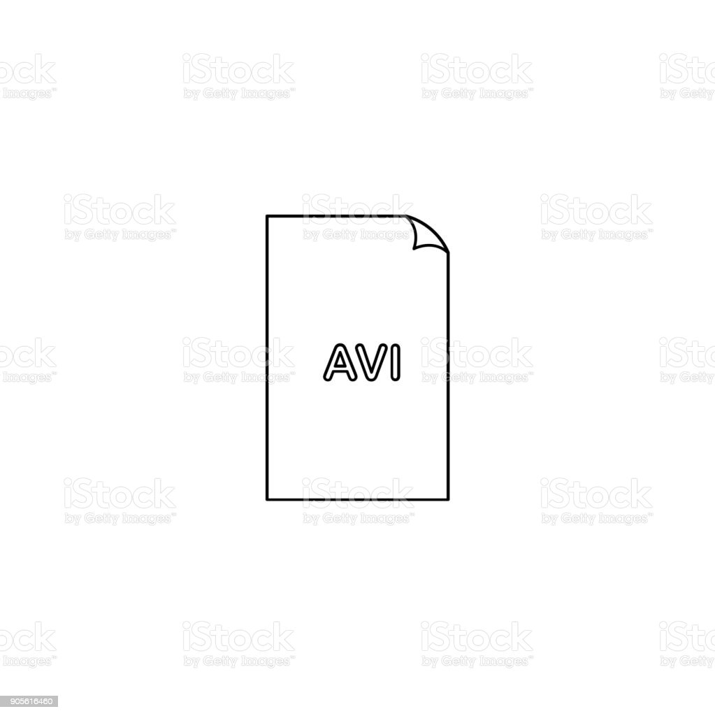AVI icon, avi audio video format file type icon, graphical user interface element for applications, websites & data services. Vector illustration isolated on white background. vector art illustration