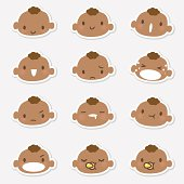 Cute style vector icons of Baby face in various moods ( Emoticons ).