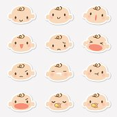 istock Icon ( Emoticons ) - Baby face ( mad, crying, smiling, sleeping ) 165634098