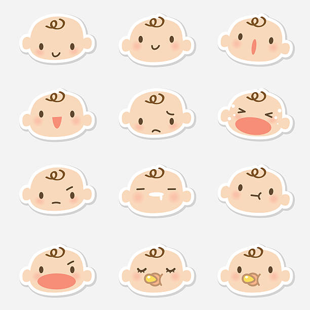 stockillustraties, clipart, cartoons en iconen met icon ( emoticons ) - baby face ( mad, crying, smiling, sleeping ) - baby