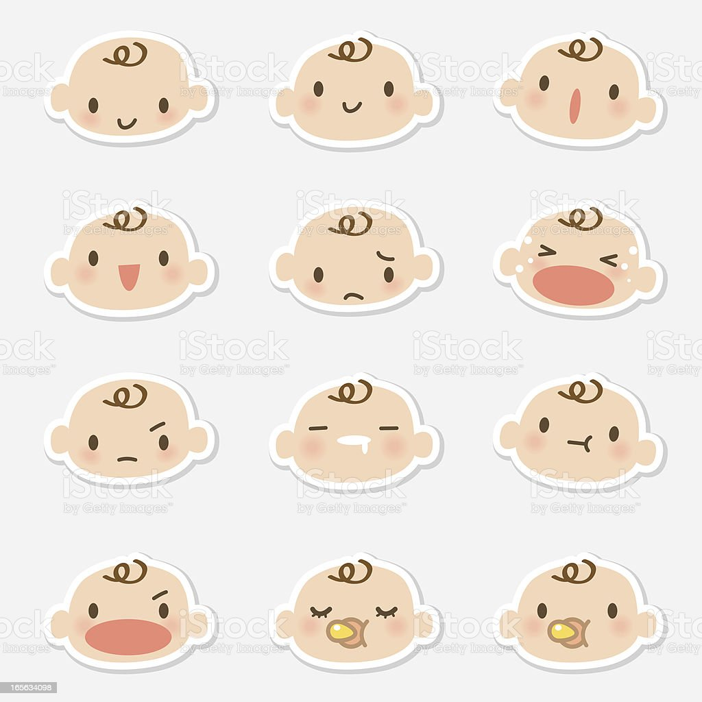 Icon ( Emoticons ) - Baby face ( mad, crying, smiling, sleeping ) vector art illustration