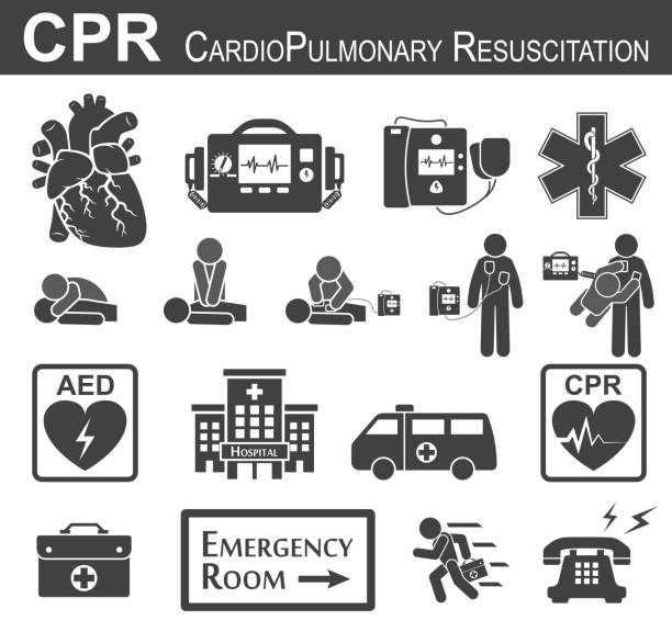 CPR ( Cardiopulmonary resuscitation ) icon ( black & white , flat design ) , Basic life support ( BLS )and Advanced cardiac life support ( ACLS )( mouth to mouth , chest compression , defibrillation ) vector art illustration