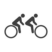 Icon bike for two passengers. Vector on white background.