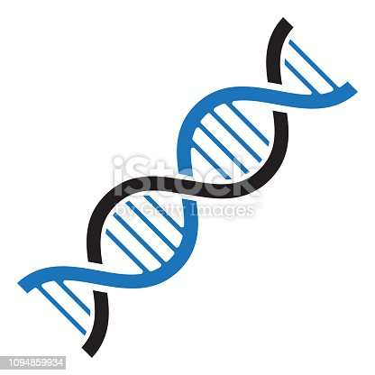 DNA icon. Black and blue colors. Vector illustration
