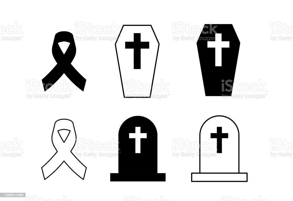 Beerdigung Karte.Schwarze Schleife Symbol Kruzifix Und Gräber Auf Weißem Hintergrund