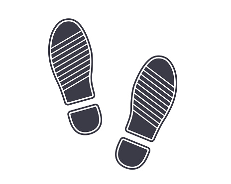 icon black footprints from shoes on the ground