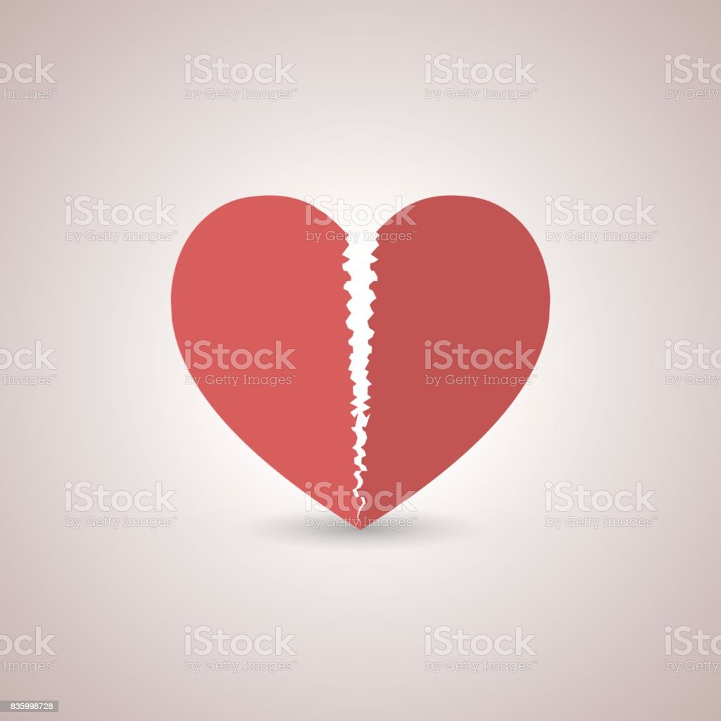 Icon broken heart, vector illustration. vector art illustration