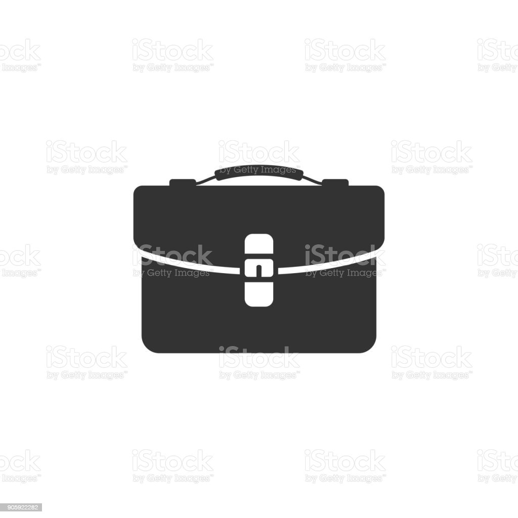 BW icon - Business suitcase vector art illustration