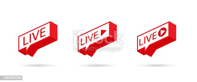 LIVE icon, button, symbol, web, ui, app. Social media icon LIVE streaming. LIVE on a Speech bubble. Vector illustration