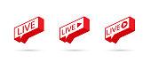 LIVE icon, button, symbol, web, ui, app. Social media icon LIVE streaming. LIVE on a Speech bubble. Vector illustration