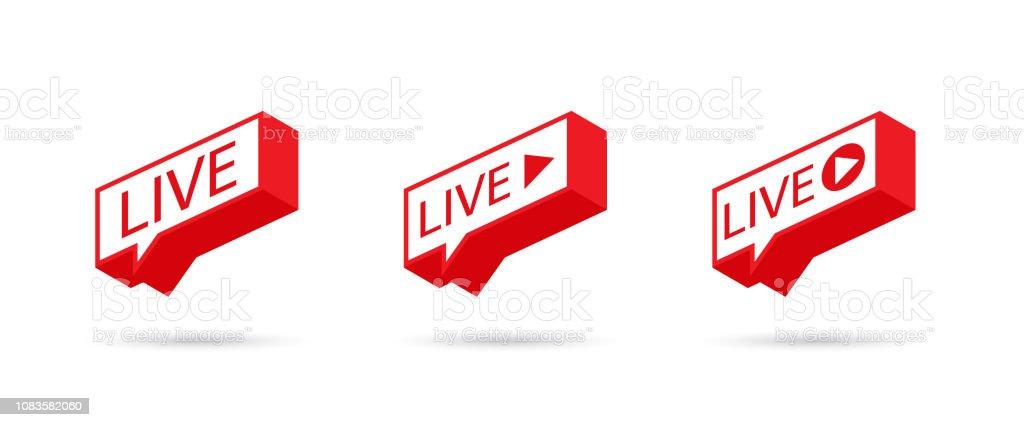 LIVE icon, button, symbol, web, ui, app. Social media icon LIVE streaming. Speech bubble. Vector illustration. vector art illustration