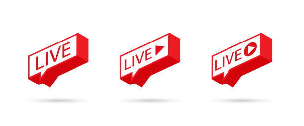 ilustrações de stock, clip art, desenhos animados e ícones de live icon, button, symbol, web, ui, app. social media icon live streaming. speech bubble. vector illustration. - webinar anuncio