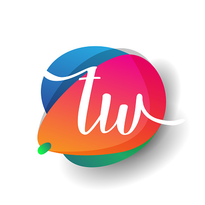 icon button with colorful splash and alphabet