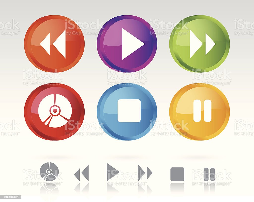Icon Buttons of Media Symbols royalty-free stock vector art