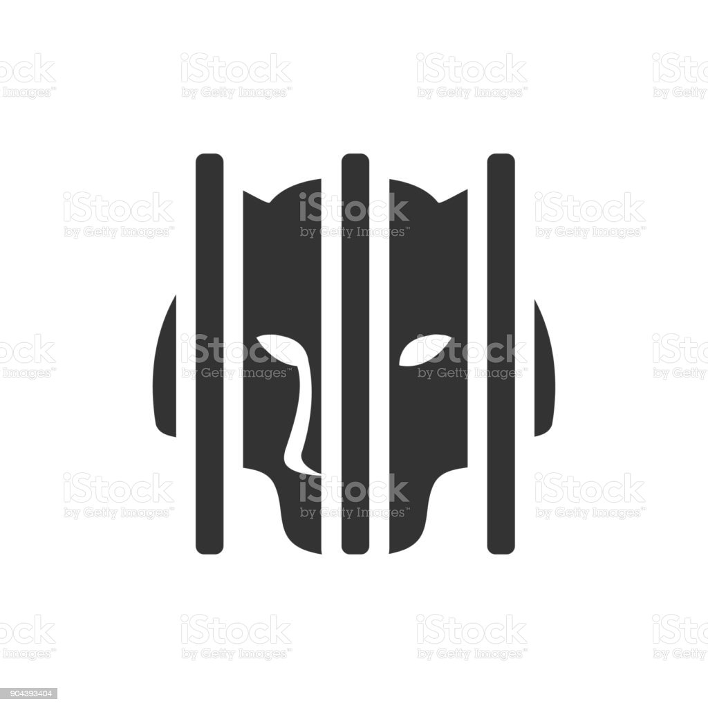 BW icon - Caged tiger vector art illustration
