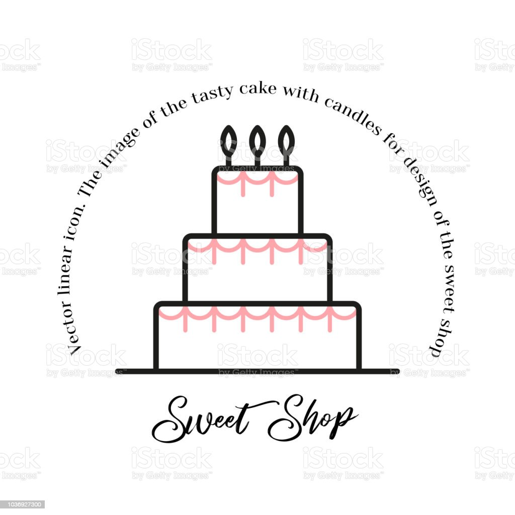 Icon Cake Vector Sweet Shop Line Illustration Birthday Cake Icon