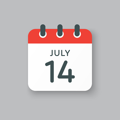 Icon calendar day 14 July, summer days of the year