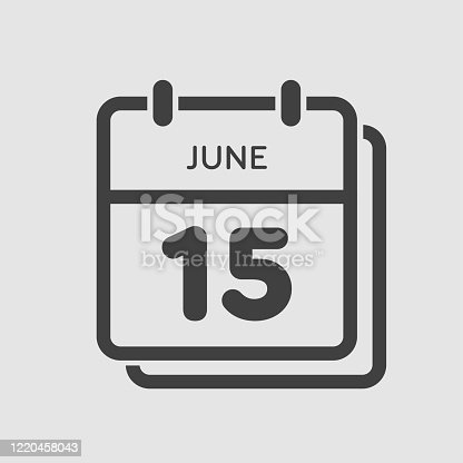 istock Icon calendar day 15 June, summer days of the year 1220458043