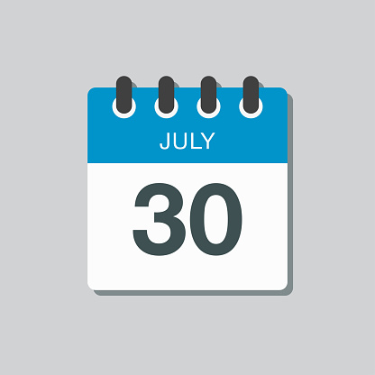 Icon calendar day 30 July, summer days of the year